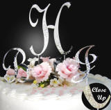 sparkle monogram wedding cake topper