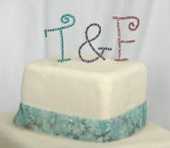 wmi full crystal monogram wedding cake toppers - new for 2010