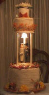 this mother of the bride went to a lot of extra effort for her daughter's bridal towel cake - there is even a light in it!