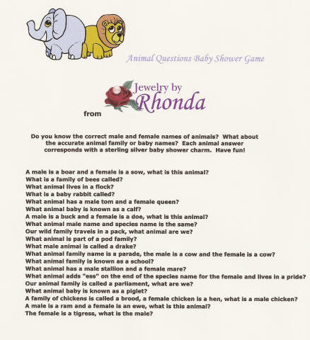 baby shower 20 questions game