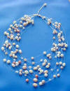 multi-color pearl and crystal 15-strand illusion necklace