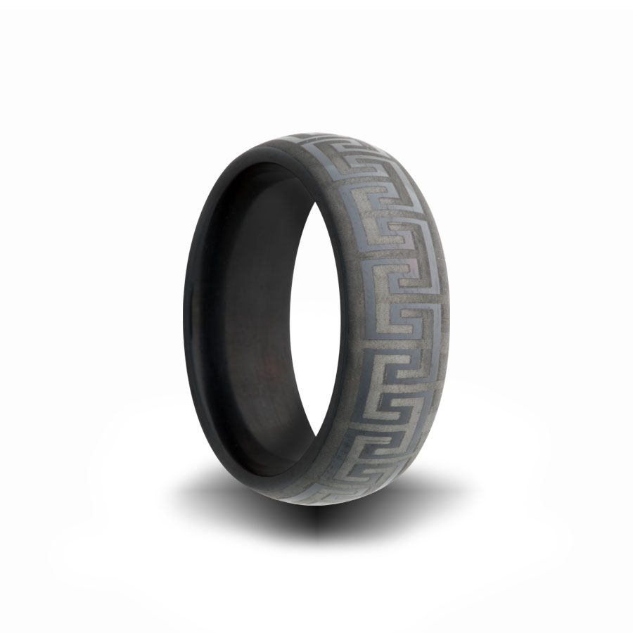 L, Greek Key Engraved Pattern On Heavy Stone Rings (r) Black Zirconium  Wedding Band